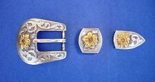"Western Rodeo Tack Bridle/Halter 2 Silver/Gold Flower, 3/4"" Leather Buckle Sets"