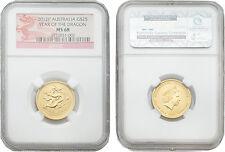 Australia 2012 Year of Dragon 25 Dollars 1/4 oz Gold NGC MS-68