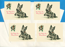 SCOTTISH TERRIER LIFTS PAW 4 SCOTTIE DOG PRINT GREETING CHRISTMAS CARDS