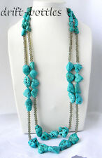 2Strands 32'' Baroque Freeform Turquoise  Faceted Crystal Tower Necklace