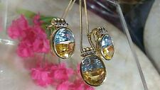 "20"" 18K GOLD Chain w14K GOLD Citrine/Aquamarine Pendant & Omega Earrings SET"