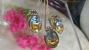 """20"""" 18K GOLD Chain w14K GOLD Citrine/Aquamarine Pendant & Omega Earrings SET"""