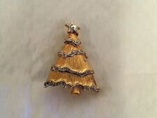 Vintage Liz Claiborne Gold-Tone Pave Christmas Tree Pin Signed EUC