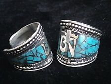 One Inch Wide Adjustable Tibetan Turquoise Inlay Carved Mantra OM Amulet Ring