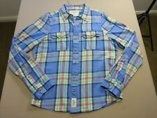 037 MENS NWOT ABERCROMBIE & FITCH BLUE / LIME CHECK L/S SHIRT MEDM $130 RRP.