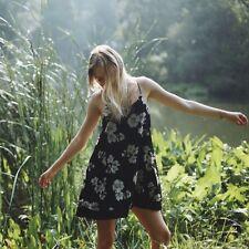 Brandy Melville Black Floral Low Back Chiffon  Lined Tunic Slip Dress