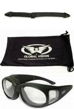 Outfitter Motorcycle Glasses Clear Fit Over RX Glasses Padded Plus Pouch & Strap