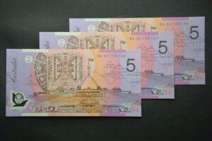 Aust. 2005 $5 Polymer Banknote McFarlane Henry BA05 First Prefix UNC x 3 Notes