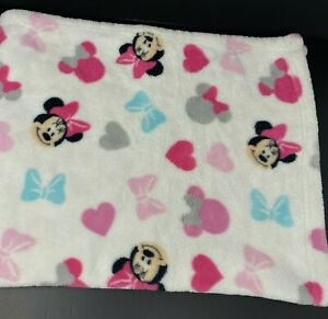 Disney Minnie Mouse Baby Blanket White w/Pink Gray Blue Faces Hearts Bows Plush