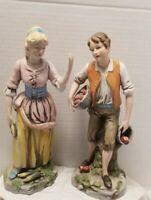 "VINTAGE 1977 HOMCO COLONIAL BOY & GIRL FIGURINES MEASURE 12"" TALL CORN, APPLES"