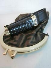 Fendi Tobacco Brown Canvas/Leather Zucca Monogram Pouch & Lipstick Holder Handle