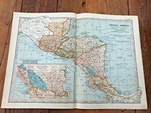 """1903 large colour fold out map titled """" central america """""""