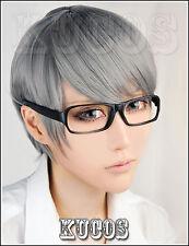 396 Persona 4: The Animation Narukami Yu Short Gray Cosplay Wig and Glasses