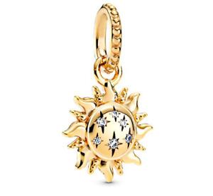 925 Sterling Silver Sparkling Sun Pendant Dangle Charm