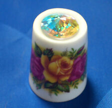 Birchcroft China Thimble -- Country Roses and Swarovski Crystal - Free Dome Box