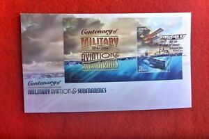 CENTENARY OF MILITARY AVIATION & SUBMARINES MINI SHEET FIRST DAY COVER 2014