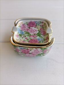 Vintage ! Set of Four ALL OVER FLORAL Style DISHES/ASHTRAYS in Holder ! Japan