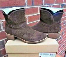 NWB UGG Darling Seaweed Perforated Chocolate Suede Short Boots WOMEN'S SIZE 9