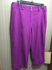 Womens Sz 16 Autograph Purple Linen Blend 3/4 Crop Lace Trim Pants