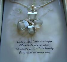 sparkly pretty- gift box Necklace Butterfly Pendant silver