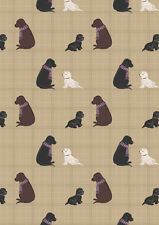 Fat Quarter Dogs on Natural Check Westies 100% Cotton Quilting Fabric