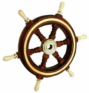Vintage Style 24 Brass & Wood Ship Wheel Nautical Home Decor Boat Ship Wheel