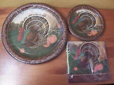 Thanksgiving Turkey Plates & Napkins by Party Express from Hallmark Sealed