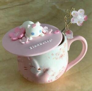 Starbucks Sakura Cat Cherry Blossom Coffee Mug W/ Lid&stir stick Limited Edition