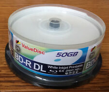 50gb blu ray BD-R DL white inkjet printable 6X 260 discs 25 pack by ValueDisc