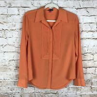 Vince Camuto Womens Orange Size Small Button Front Long Sleeve Polyester Top