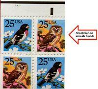 US SC #BK160 #2285b 25c Owl & Grosbeak P#5453 Booklet Pane of 10 CV:$83