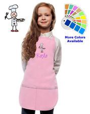 Personalized Kids Apron with Stick Chef Embroidery Design