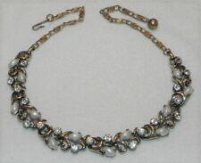 "Vintage Lisner Clear Rhinestone White Swirl Stone 15"" Choker Necklace Gold Tone"