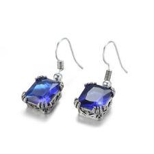 Vintage Solid Silver Rectangle Swiss Blue Topaz Gemstone Dangle Hook Earrings