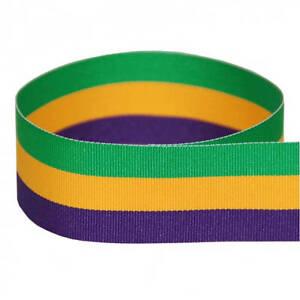 """1.5"""" Mardi Gras Grosgrain Ribbon - Purple/Yellow/Green - Made in USA"""