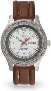 DETOMASO Trieste DT1078-C Chronograph 42mm Armbanduhr mit Leder-Armband Herren