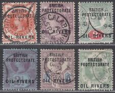 Oil Rivers Protectorate 1892 QV Overprint Set Used SG1-6 cat £120 with fault