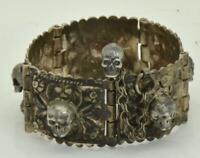 Antique Victorian silver MEMENTO MORI  SKULLS ladies Bracelet c1870's