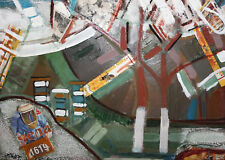 Vintage Abstract oil collage painting landscape
