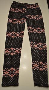 Women's Pink Snowflake Warm Fleece Lining Footless Patterned Leggings Size S-M