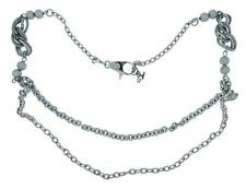 Dolce & Gabbana Jewels DJ0690 Womens Silver Tone Double Chain Statement Necklace