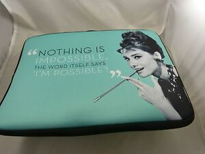 Audrey Hepburn for Mac book 15 inch padded case Nothing is impossible laptop