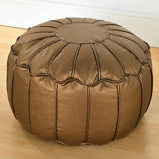 Quality Faux Leather Moroccan Bean Bag Pouffe With Piped Edges Beanbag Footstool Copper