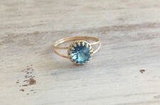Yellow 14k Gold Filled Swarovski Blue Aquamarine ring cocktail  Sz 5,6,7,8