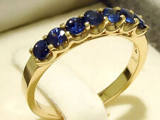 R183 Genuine 9K,10K,18K Gold Natural Sapphire 7-Stone Eternity Ring in your size