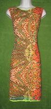 Elie Tahari Orange Multi-color Exotic Cotton Eyelet Social Dress 12 $348