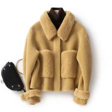 Womens Luxury Shearling Suede Wool Peacoat Jacket Winter Pocket Cashmere Outwear