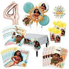 Moana Party Supplies 16 Guest Kit and 4th Birthday Balloon Bouquet Decorations
