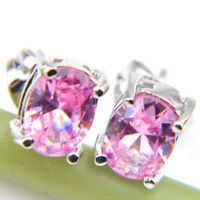 Trendy Jewelry Gift Sweet Pink Topaz Gemstone Silver Stud Earrings