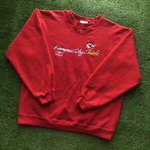 Vintage 90s Kansas City Chiefs Reebok NFL Crewneck Sweatshirt Spell Out Men's L